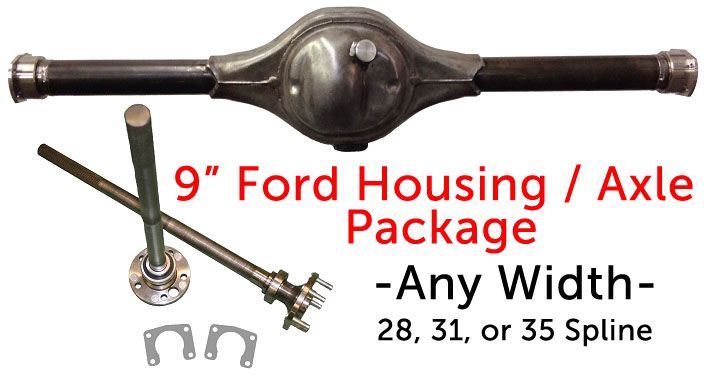 """Ford 9 inch 50/"""" HD Rear End Housing Kit with 31 spline axles and hardware"""